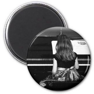 Piano Practice. Black and White Photograph 2 Inch Round Magnet