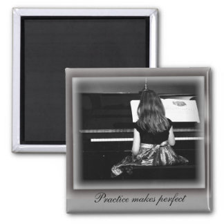 Piano Practice. Black and White Photograph 2 Inch Square Magnet