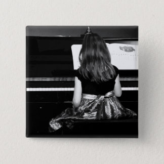 Piano Practice. Black and White Photograph Button