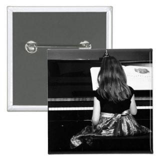 Piano Practice. Black and White Photograph 2 Inch Square Button