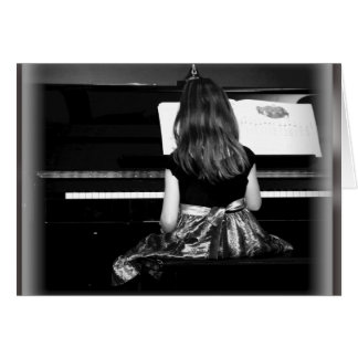 Piano Practice. Black and White Photograph Greeting Card