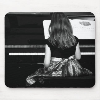 Piano Practice. Black and White Photograph Mouse Pad