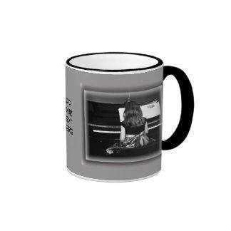Piano Practice. Black and White Photograph Ringer Coffee Mug
