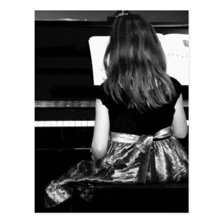 Piano Practice. Black and White Photograph Postcard