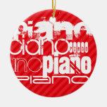 Piano; Rayas del rojo del escarlata Adorno Navideño Redondo De Cerámica