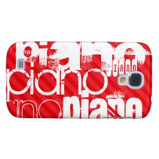 Piano; Rayas del rojo del escarlata Funda Samsung S4