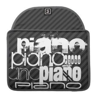 Piano; Rayas negras y gris oscuro Fundas Para Macbook Pro