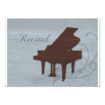 Beach Themed Piano Recital Invitation in Seabreeze Blue