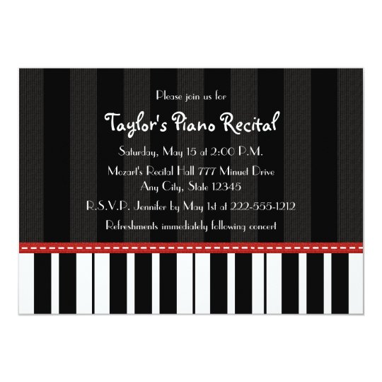 piano recital invitations invites zazzle com