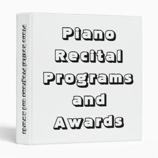 Piano Recital Programs, Award Certificates Binder Vinyl Binders