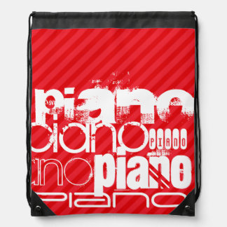 Piano; Scarlet Red Stripes Cinch Bag