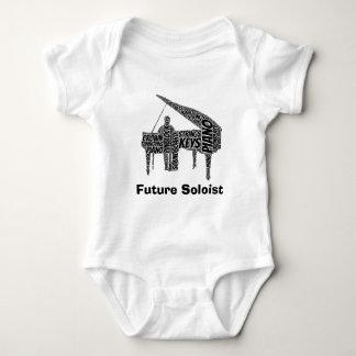 Piano Shaped Word Art Black Text Baby Bodysuit