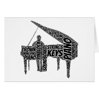 Piano Shaped Word Art Black Text Card
