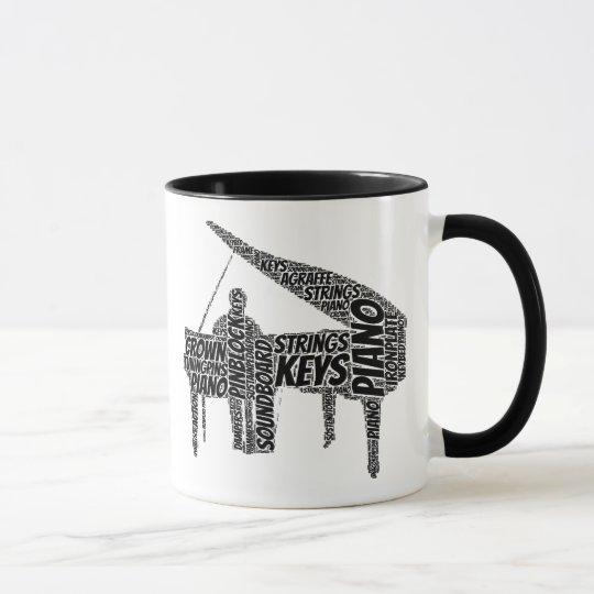 Piano Shaped Word Art Black Text Mug