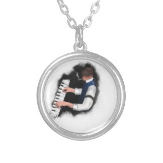 Piano Singer Silver Plated Necklace