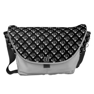 Piano square with black background messenger bag
