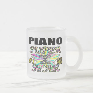 Piano Superstar Frosted Glass Coffee Mug