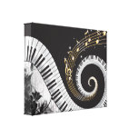 Piano Swirled Keys Surreal Music Fantasy Stretched Canvas Print