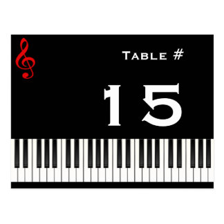 Piano Table Number Card, Table #, 15 Postcards