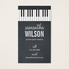 Piano Teacher Business Card at Zazzle