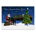 Piano Teacher Card With Santa Playing Piano