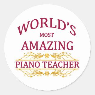Piano Teacher Classic Round Sticker