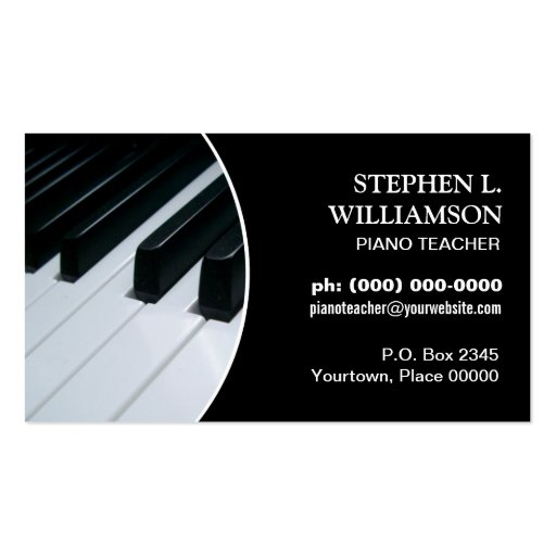 Piano Teacher Frame Business Cards
