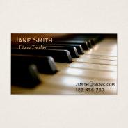Piano Teacher freelance music tutor professional Business Card at Zazzle