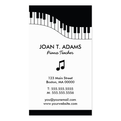 Piano Teacher Keyboard Music Business Cards