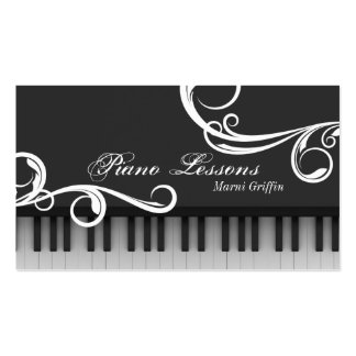Piano Teacher Lessons Business Card Elegant Swirl