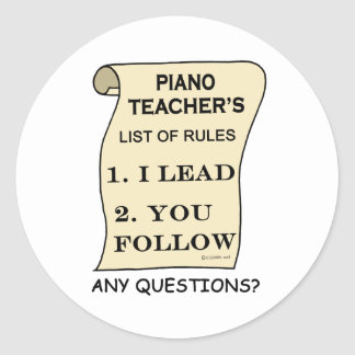 Piano Teacher List Of Rules Stickers
