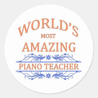 Piano Teacher Round Sticker