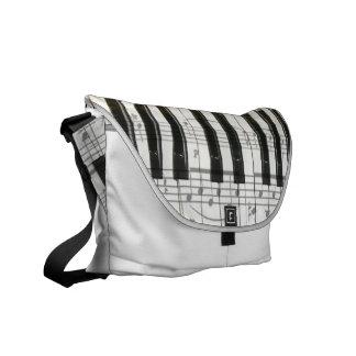 Piano Tuner Keyboard and Notes Messenger Bag