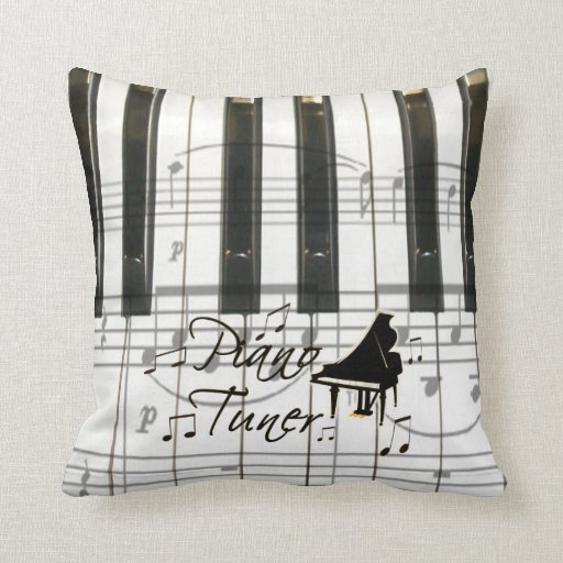 Piano Tuner Keyboard and Notes Throw Pillow
