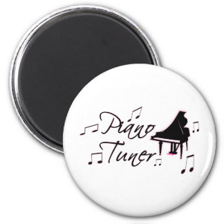 Piano Tuner Music Notes with Pink Pedals and Trim 2 Inch Round Magnet