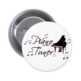 Piano Tuner Music Notes with Pink Pedals and Trim Pinback Buttons