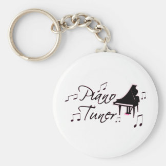 Piano Tuner Music Notes with Pink Pedals and Trim Keychain