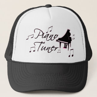 Piano Tuner Music Notes with Pink Pedals and Trim Trucker Hat