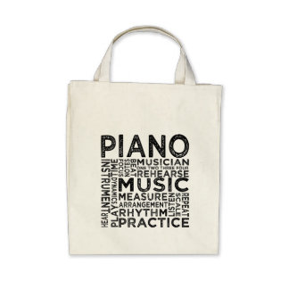 Piano Typography Canvas Bags