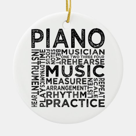 Piano Typography Ceramic Ornament