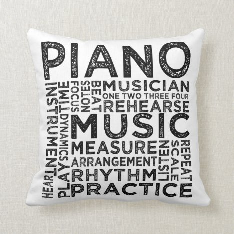 Piano Typography Throw Pillow