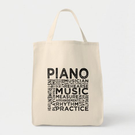 Piano Typography Tote Bag