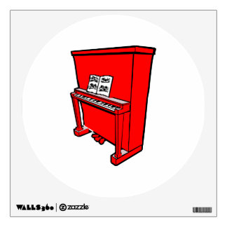 piano vertical rojo magnífico con music.png vinilo adhesivo