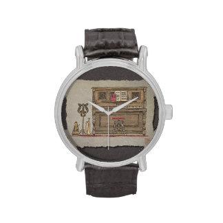 Piano vertical viejo reloj de mano