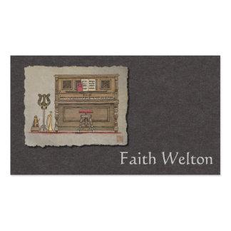 Piano vertical viejo tarjetas de visita