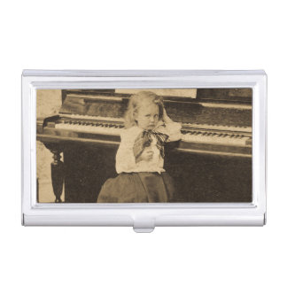Piano Vintage I Won't Practice Another Minute Business Card Holder