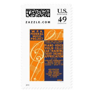 Piano Violin Classes 1939 WPA Postage Stamp