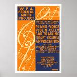 Piano Violin Classes 1939 WPA Poster