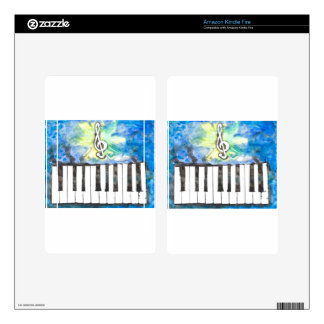 Piano Watercolor Decal For Kindle Fire