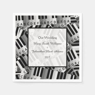 Piano Wedding Black and White Keepsake Napkin